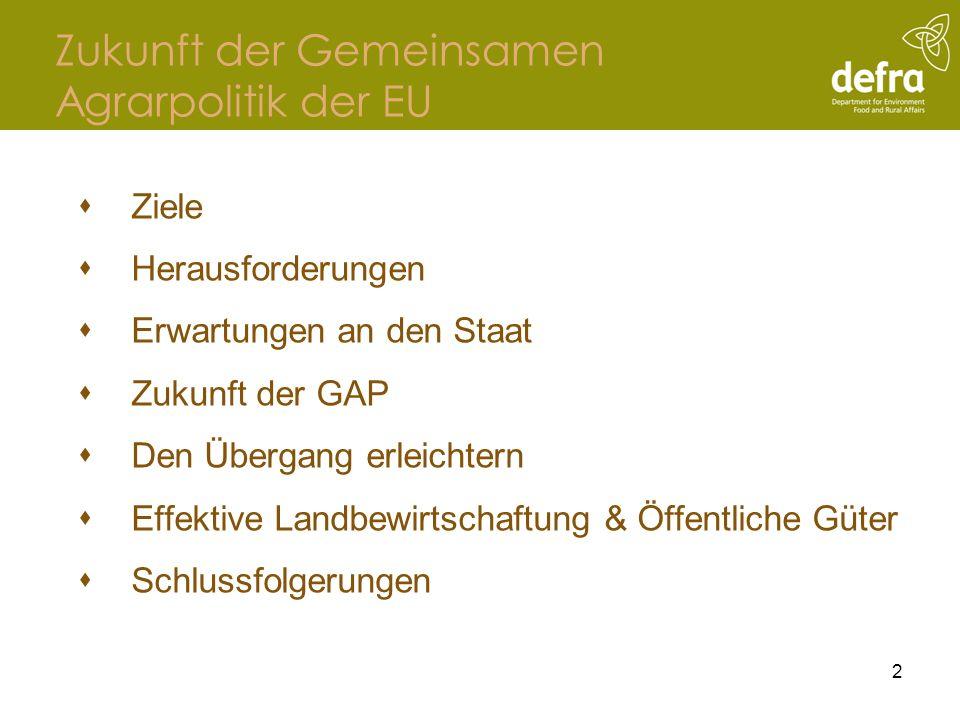 Zukunft der Gemeinsamen Agrarpolitik der EU