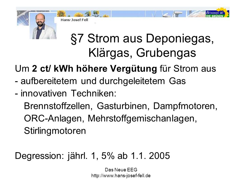 §7 Strom aus Deponiegas, Klärgas, Grubengas
