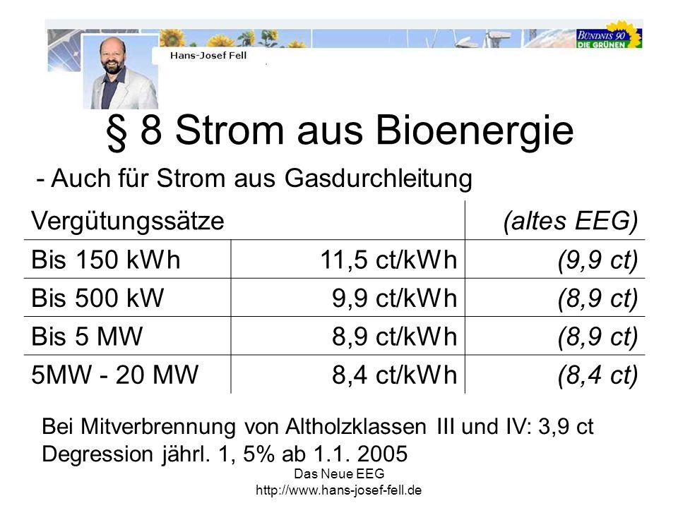 § 8 Strom aus Bioenergie - Auch für Strom aus Gasdurchleitung