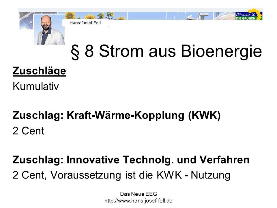 § 8 Strom aus Bioenergie Zuschläge Kumulativ
