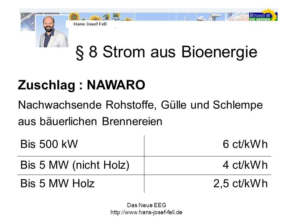 § 8 Strom aus Bioenergie Zuschlag : NAWARO