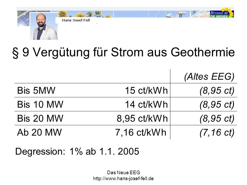 § 9 Vergütung für Strom aus Geothermie