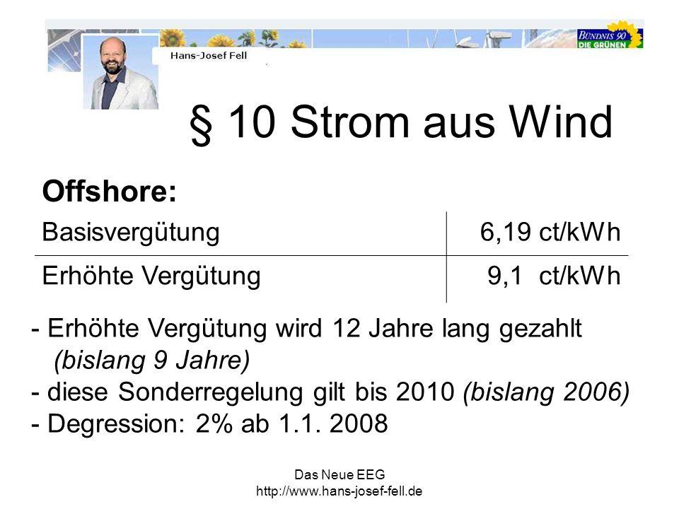 § 10 Strom aus Wind Offshore: Basisvergütung 6,19 ct/kWh