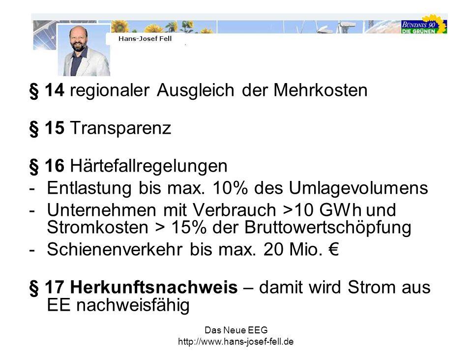 § 14 regionaler Ausgleich der Mehrkosten § 15 Transparenz