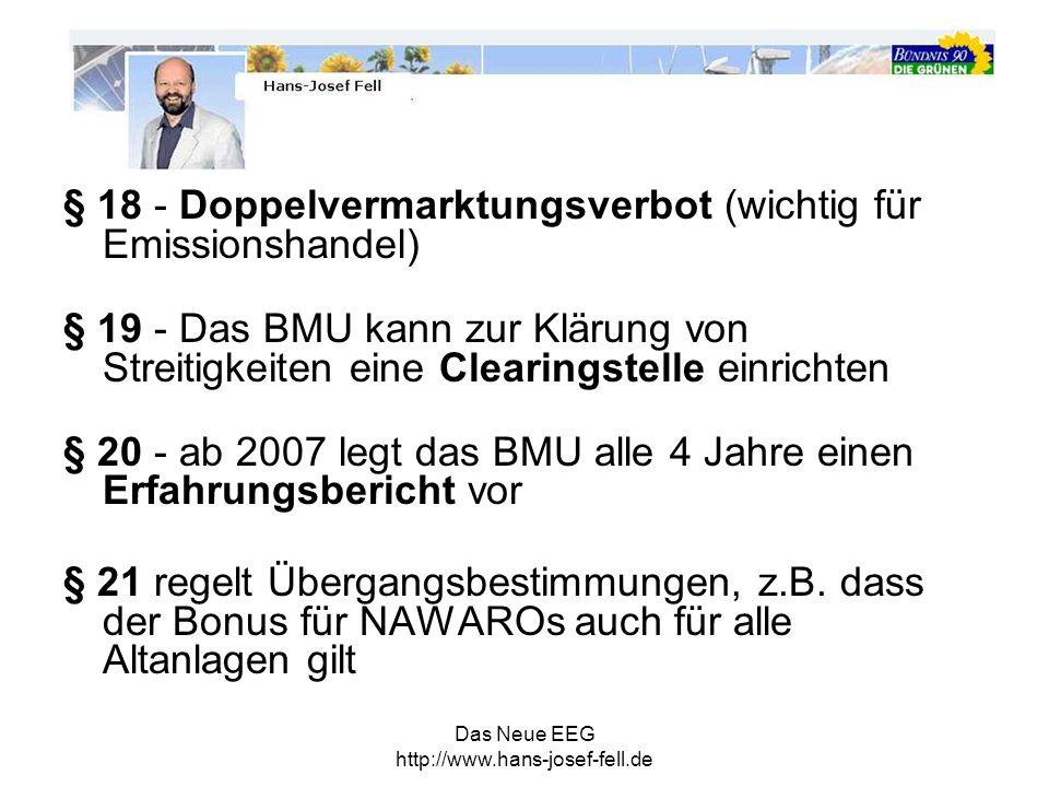 § 18 - Doppelvermarktungsverbot (wichtig für Emissionshandel)