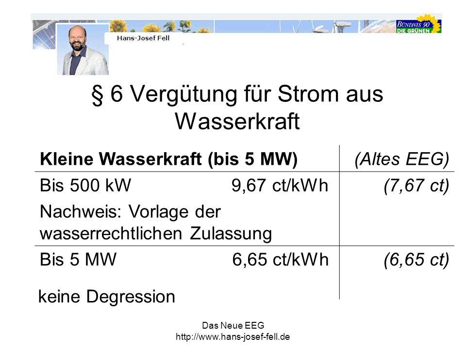 § 6 Vergütung für Strom aus Wasserkraft