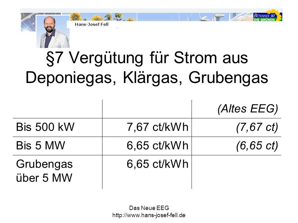 §7 Vergütung für Strom aus Deponiegas, Klärgas, Grubengas