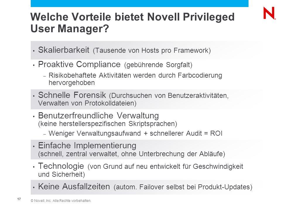 Welche Vorteile bietet Novell Privileged User Manager