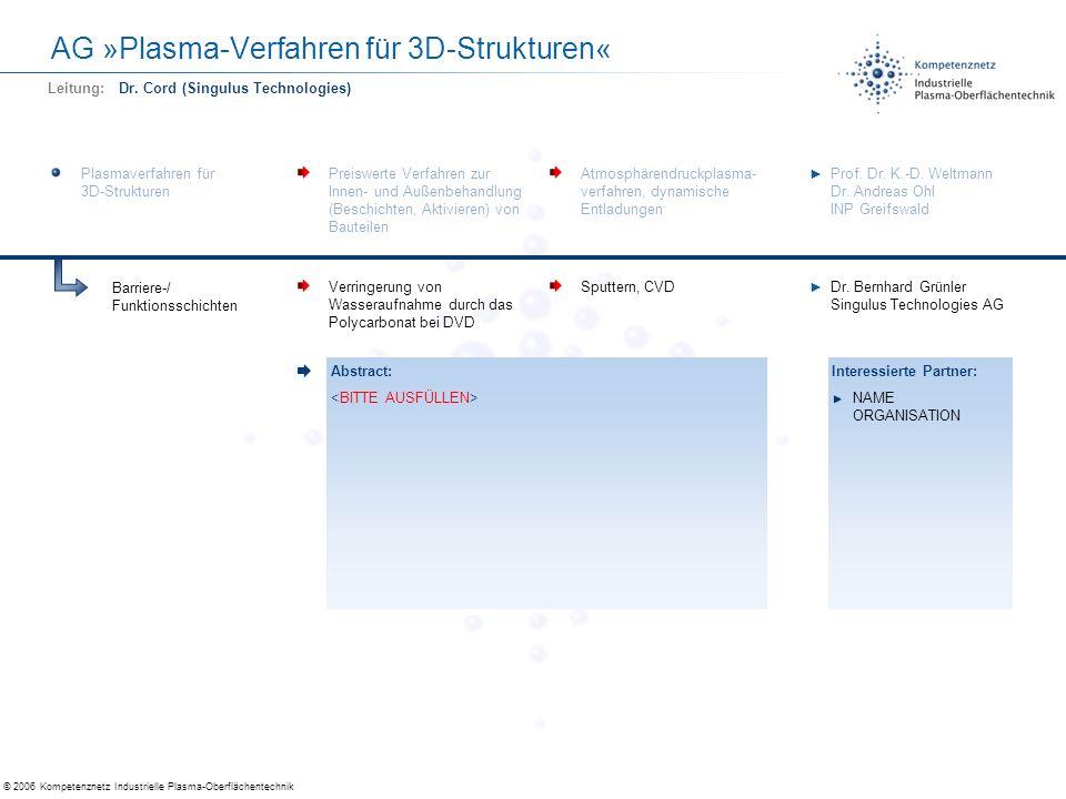 AG »Plasma-Verfahren für 3D-Strukturen«