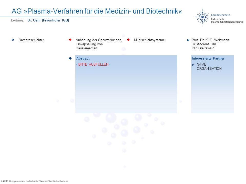 AG »Plasma-Verfahren für die Medizin- und Biotechnik«