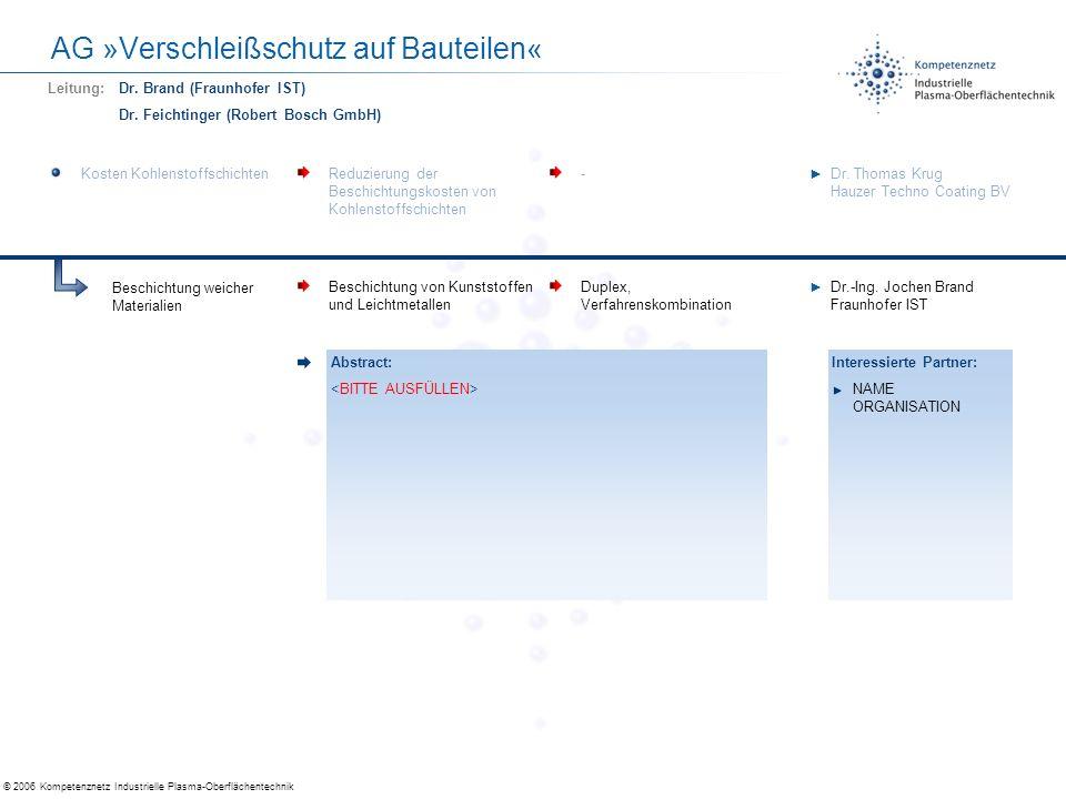 AG »Verschleißschutz auf Bauteilen«