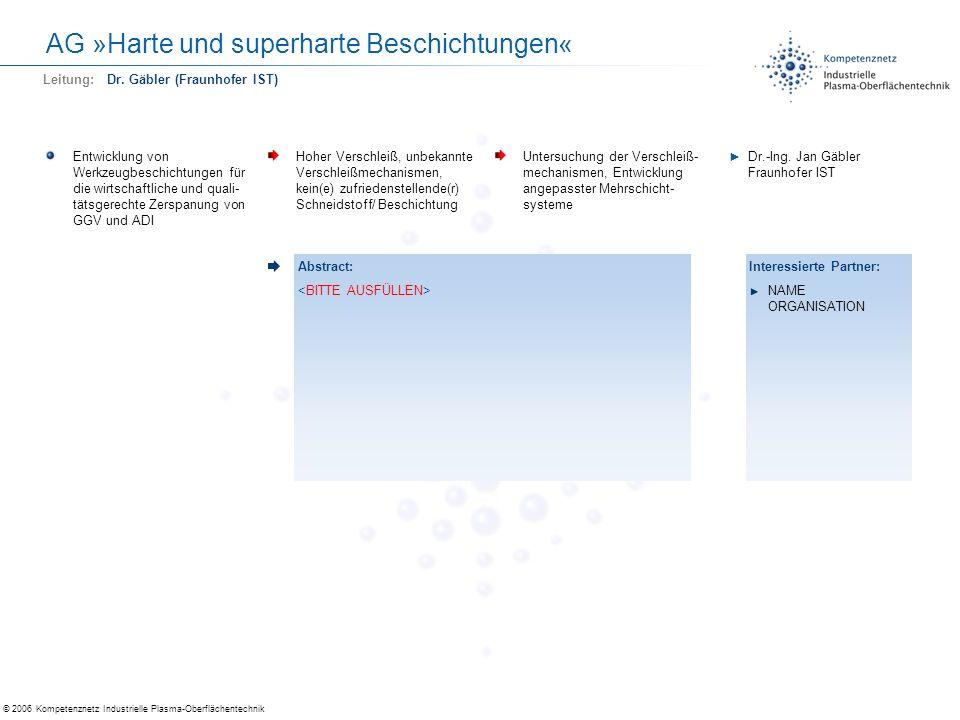AG »Harte und superharte Beschichtungen«