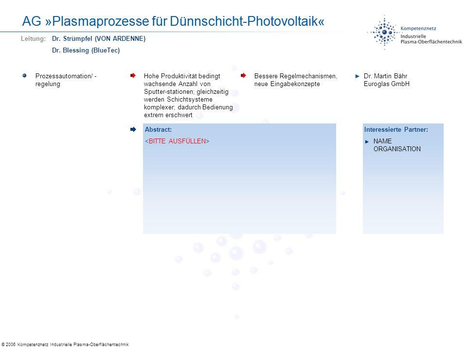 AG »Plasmaprozesse für Dünnschicht-Photovoltaik«