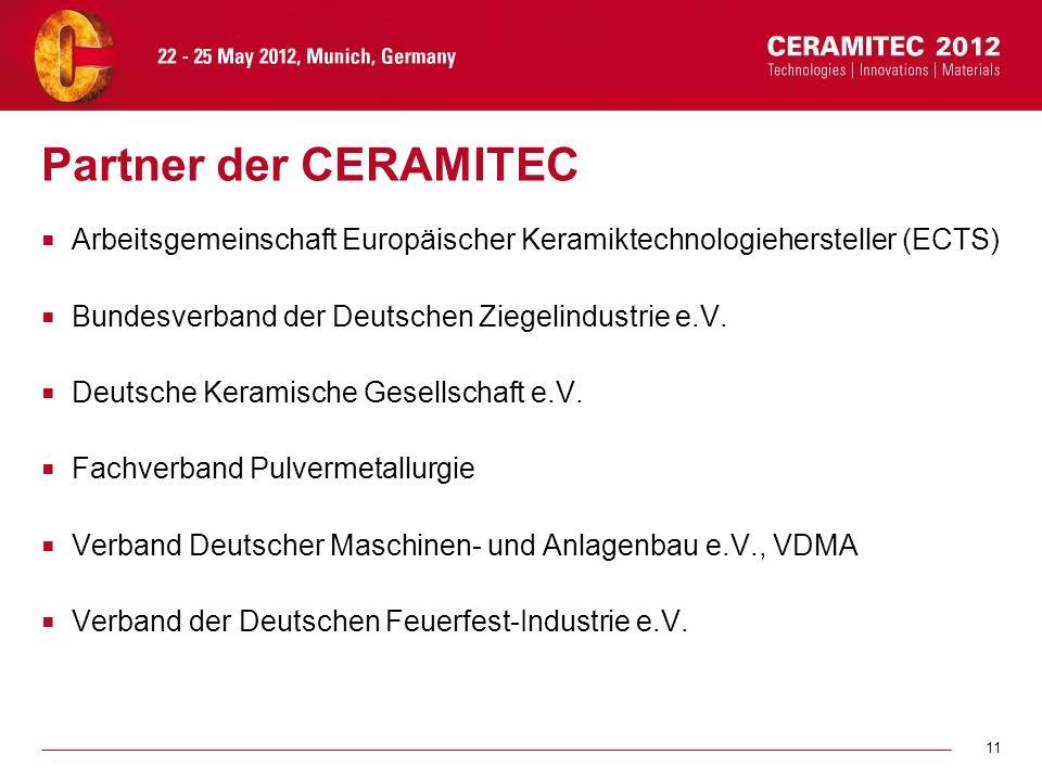 Partner der CERAMITEC Arbeitsgemeinschaft Europäischer Keramiktechnologiehersteller (ECTS) Bundesverband der Deutschen Ziegelindustrie e.V.