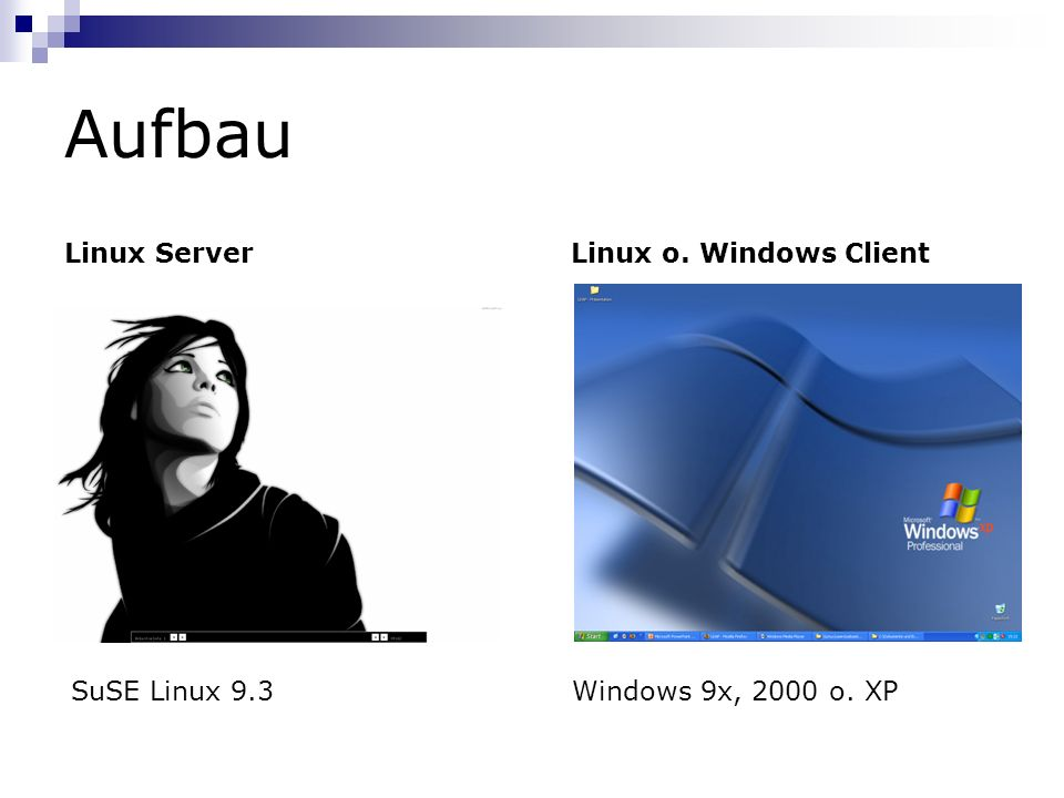 Aufbau Linux Server Linux o. Windows Client