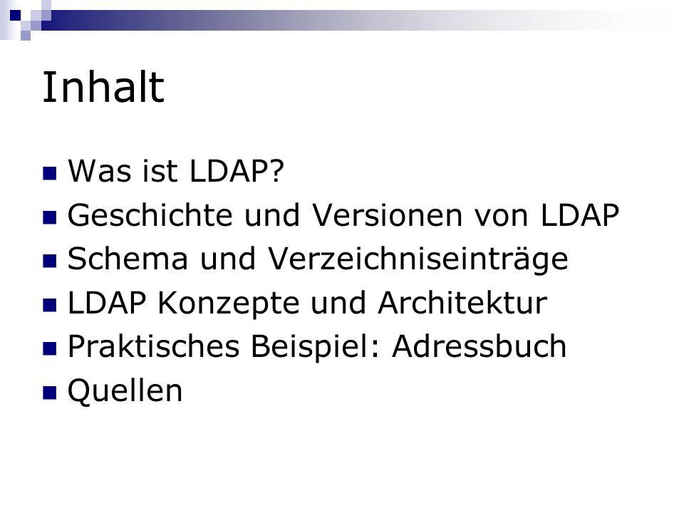Inhalt Was ist LDAP Geschichte und Versionen von LDAP