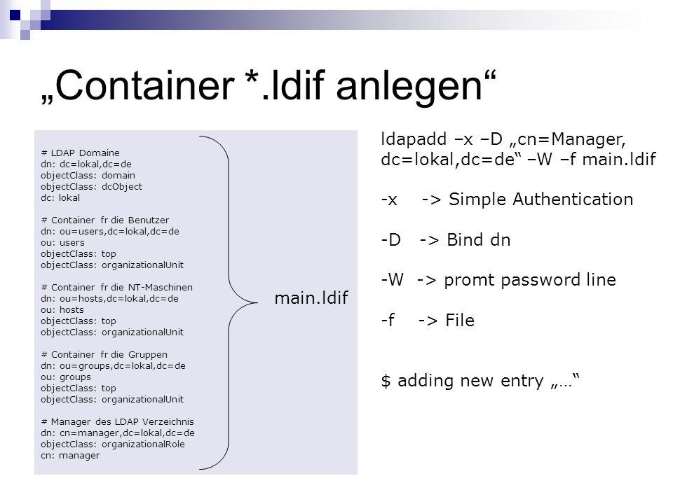 """""""Container *.ldif anlegen"""