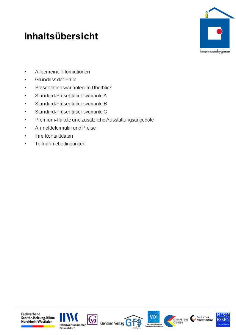 Inhaltsübersicht Allgemeine Informationen Grundriss der Halle