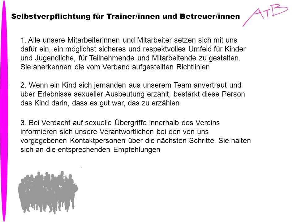 Selbstverpflichtung für Trainer/innen und Betreuer/innen