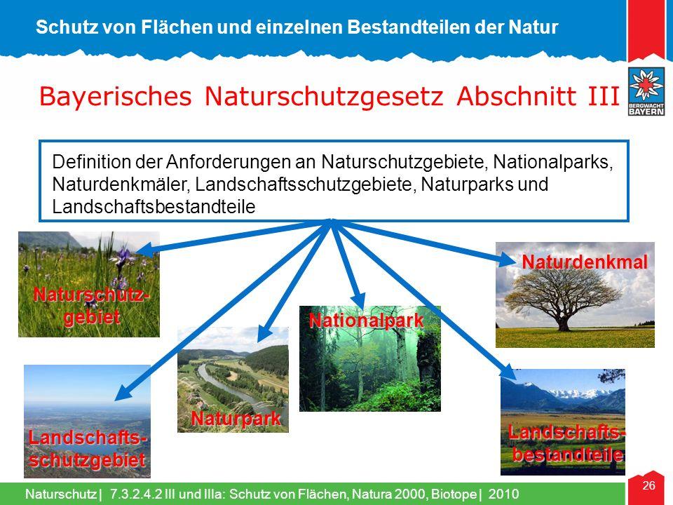 Schutz von Flächen und einzelnen Bestandteilen der Natur