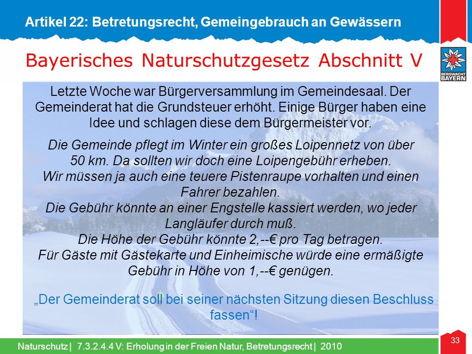 Bayerisches Naturschutzgesetz Abschnitt V