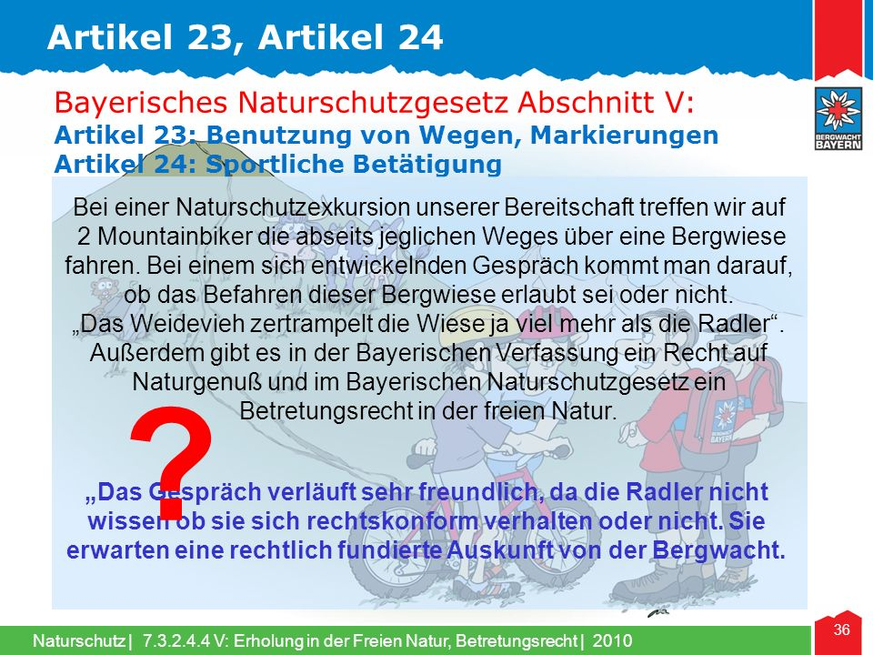 Artikel 23, Artikel 24 Bayerisches Naturschutzgesetz Abschnitt V: