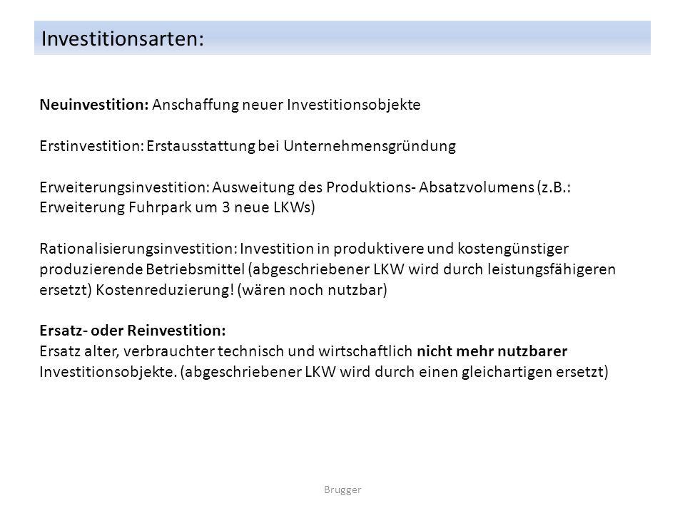 Investitionsarten: Neuinvestition: Anschaffung neuer Investitionsobjekte. Erstinvestition: Erstausstattung bei Unternehmensgründung.