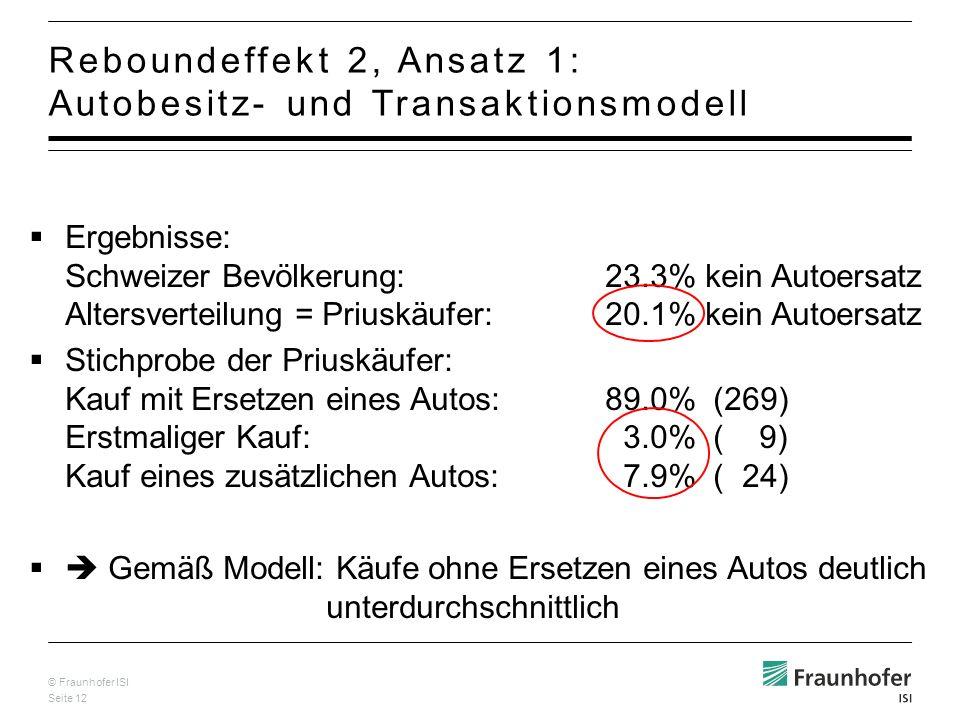 Reboundeffekt 2, Ansatz 1: Autobesitz- und Transaktionsmodell