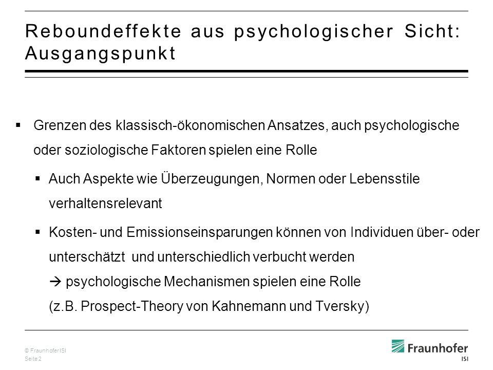 Reboundeffekte aus psychologischer Sicht: Ausgangspunkt