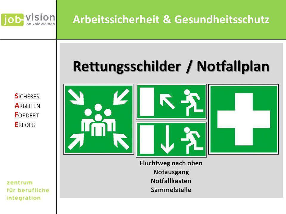 Rettungsschilder / Notfallplan