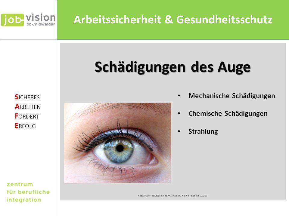 Schädigungen des Auge Mechanische Schädigungen Chemische Schädigungen
