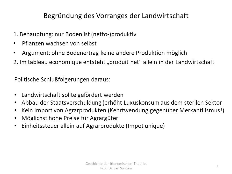 Begründung des Vorranges der Landwirtschaft