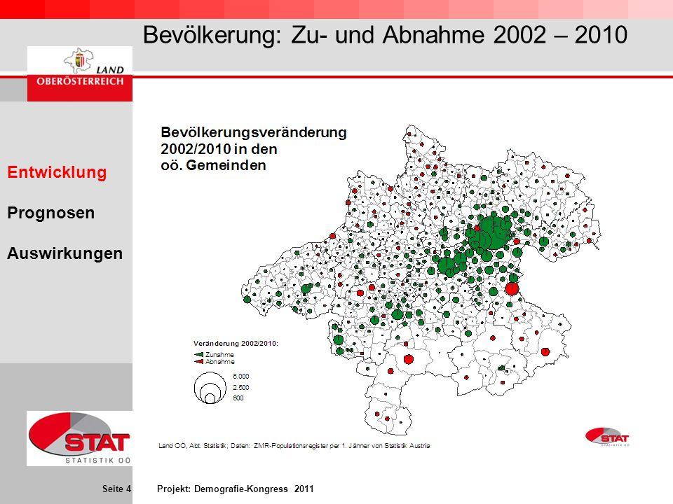 Bevölkerung: Zu- und Abnahme 2002 – 2010