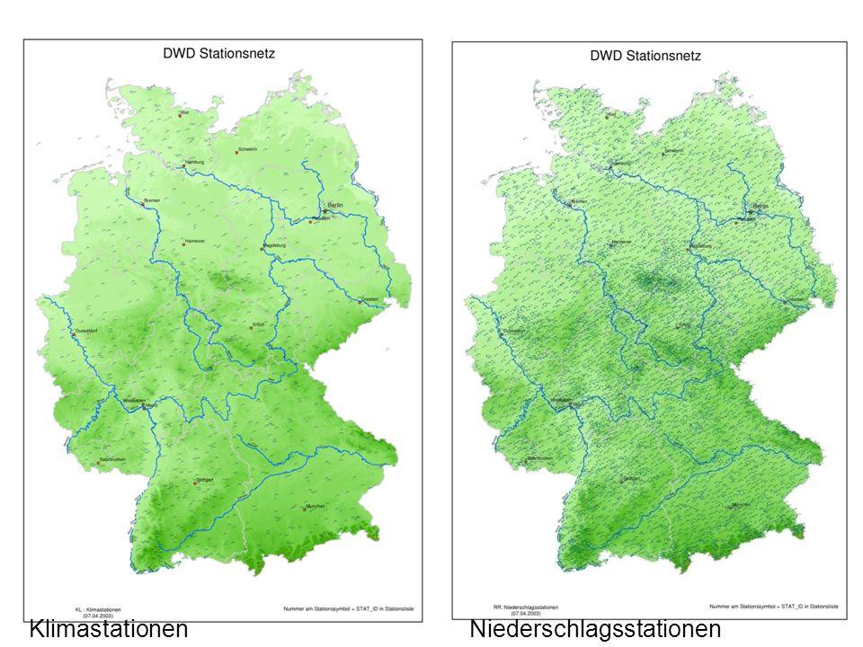 Karten Klimastationen Niederschlagsstationen