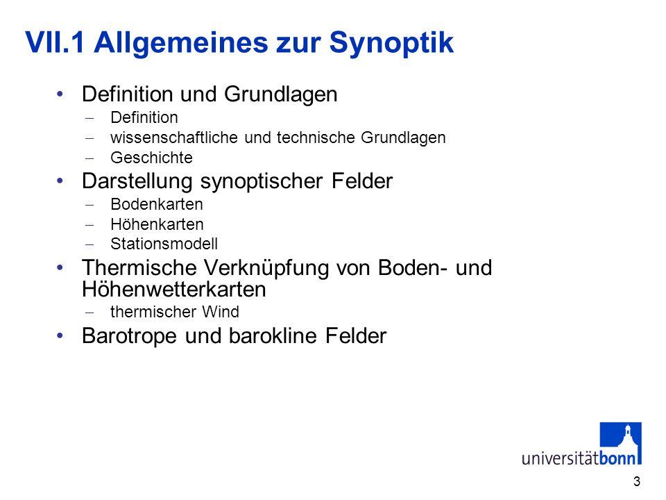 VII.1 Allgemeines zur Synoptik