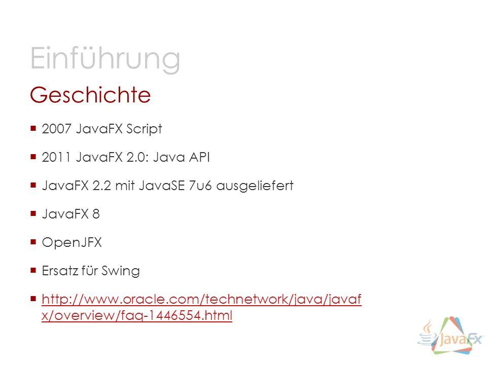 Einführung Geschichte 2007 JavaFX Script 2011 JavaFX 2.0: Java API