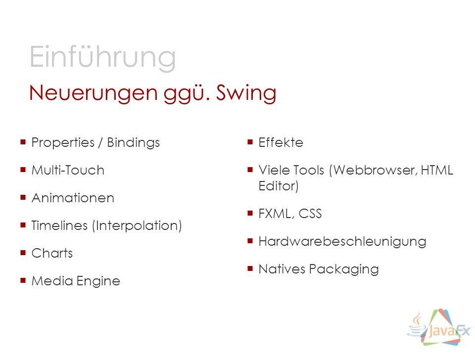Einführung Neuerungen ggü. Swing Properties / Bindings Multi-Touch