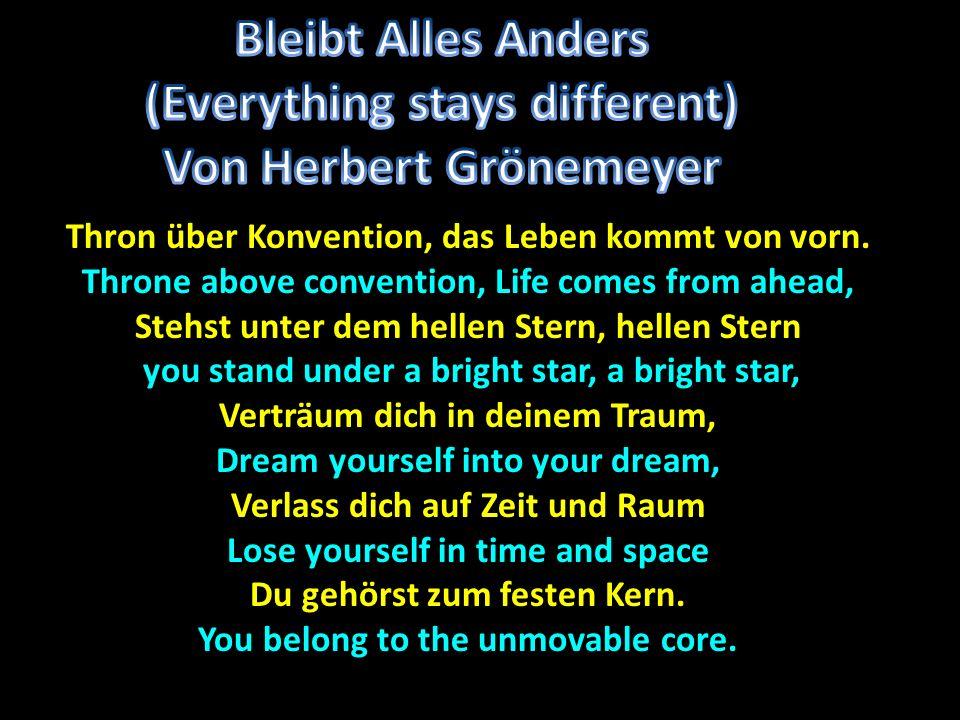 (Everything stays different) Von Herbert Grönemeyer