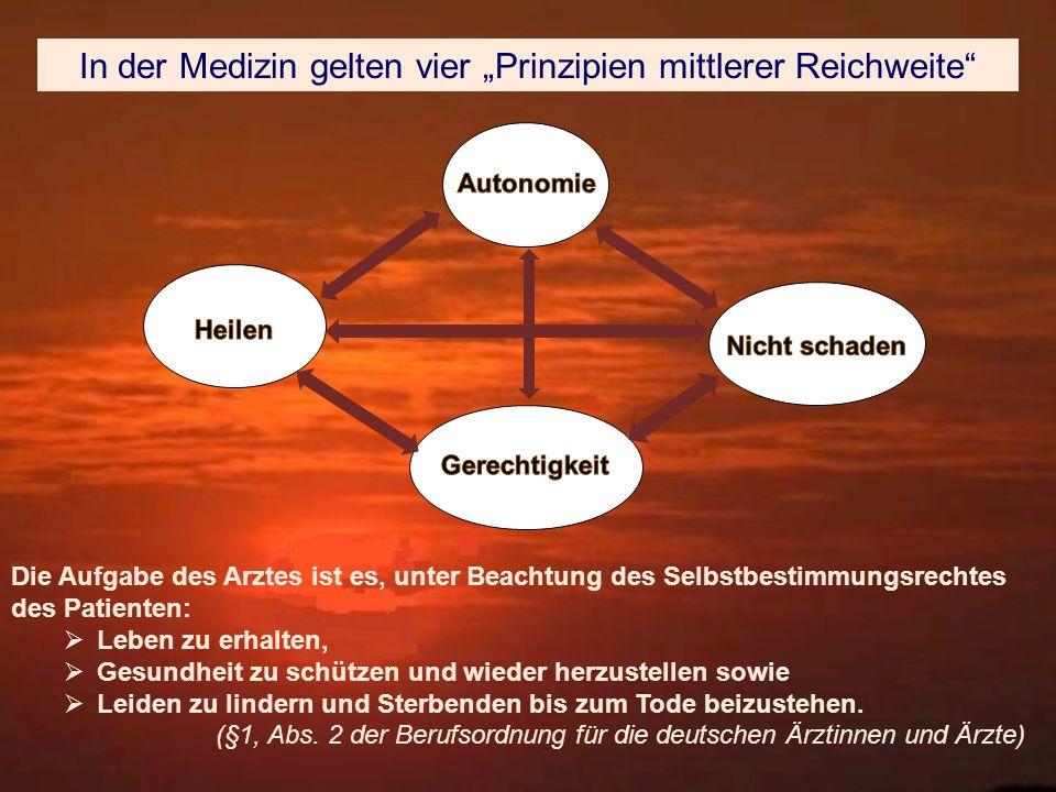"""In der Medizin gelten vier """"Prinzipien mittlerer Reichweite"""