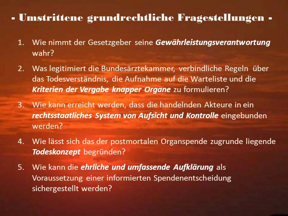 - Umstrittene grundrechtliche Fragestellungen -