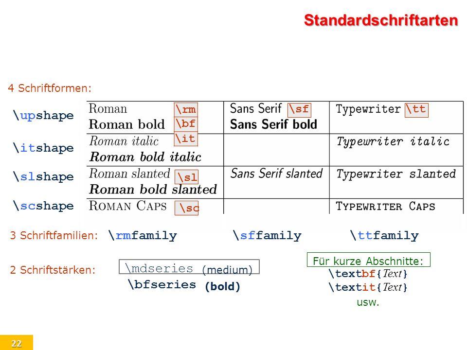 Standardschriftarten