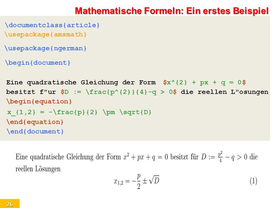 Mathematische Formeln: Ein erstes Beispiel