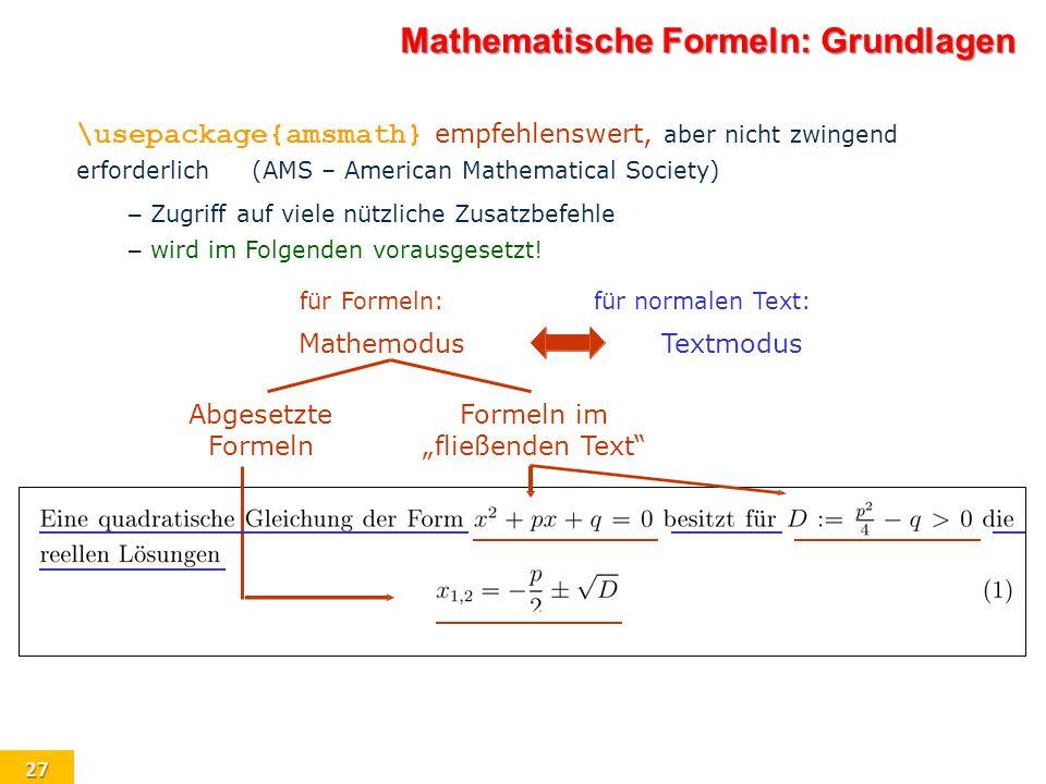 Mathematische Formeln: Grundlagen
