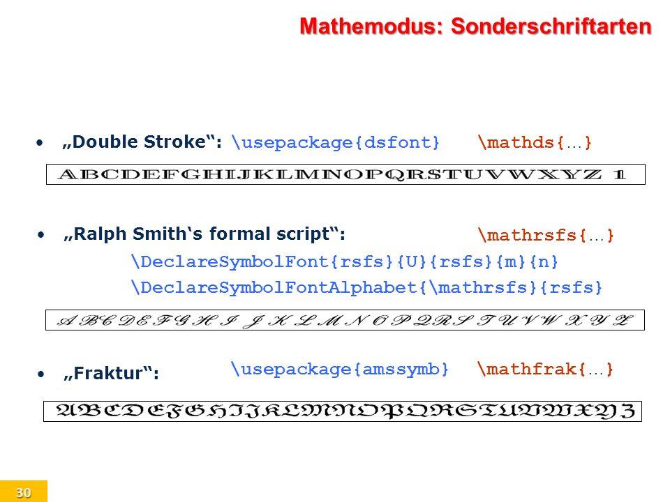 Mathemodus: Sonderschriftarten