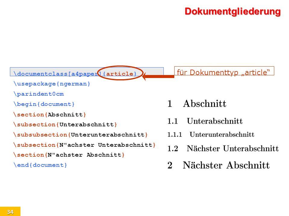 """Dokumentgliederung für Dokumenttyp """"article"""
