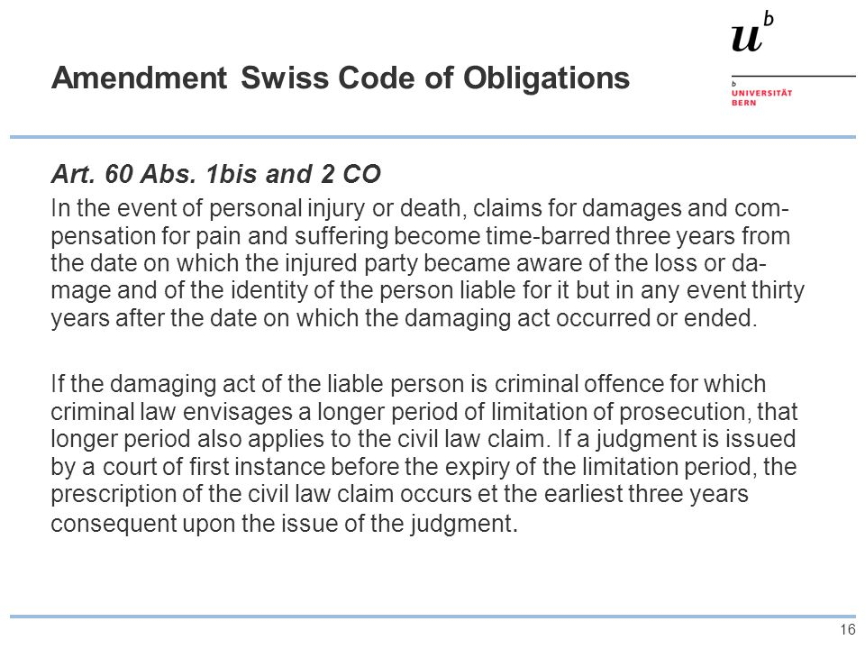 Amendment Swiss Code of Obligations
