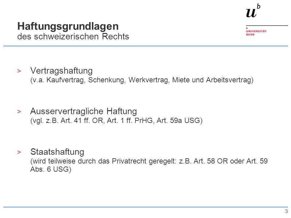 Haftungsgrundlagen des schweizerischen Rechts