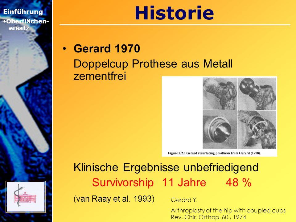 Historie Gerard 1970 Doppelcup Prothese aus Metall zementfrei