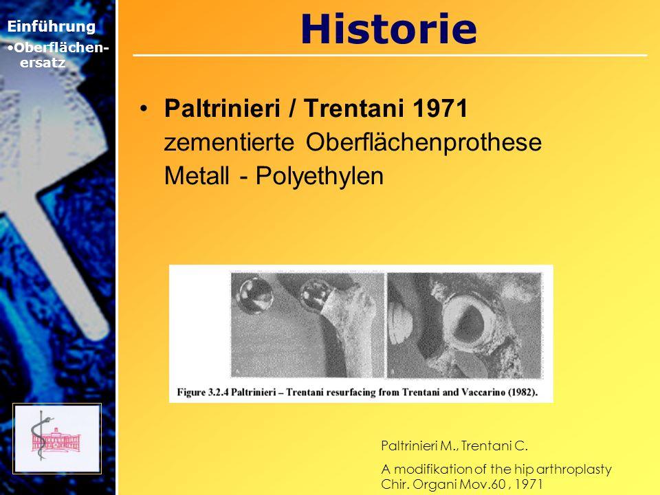 Historie Paltrinieri / Trentani 1971 zementierte Oberflächenprothese