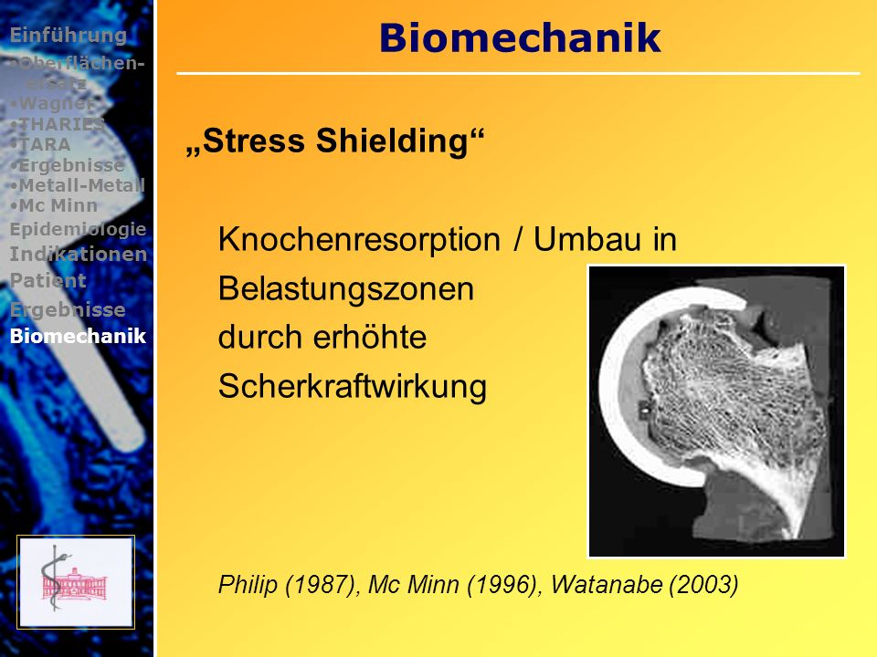 "Biomechanik ""Stress Shielding Knochenresorption / Umbau in"